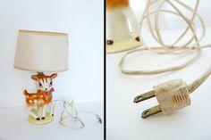 1950s fawn lamp / childs ceramic nursery DEER by JeezumCrowVintage, $52.00