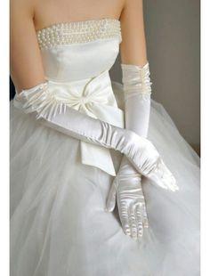 Elbow Length Pearl Satin Long Gloves | Tu-tus | Accesories | StringsAndMe