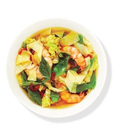 Asian Noodle Soup With Shrimp | They may be small in size, but the shrimp in these healthy dishes pack tremendous flavor.