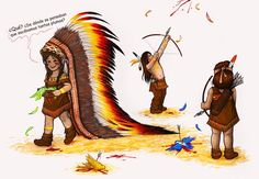 """""""Indians"""" Draw in pencils and ph by Flopy Valhala #design #illustration #drawing #comics #conceptart #flopy #valhala  #kids #indians #feather"""