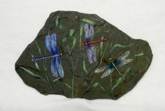 Your place to buy and sell all things handmade Painted Bricks, Painted Pebbles, Hand Painted Rocks, Hand Painted Canvas, Painted Stones, Dragonfly Painting, Dragonfly Wall Art, Pebble Painting, Pebble Art