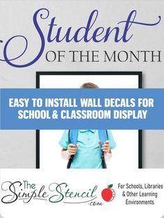 Celebrate and motivate success in your students this school year with a Student of the Month wall display. Professionally made, high quality wall decals that are easy to install and removable. Made in the USA since 2002. Preview in your choice of colors online. Many sizes and colors available. Satisfaction Guaranteed. Purchase orders accepted. #studentofthemonth #classroomdisplay #schooldisplay #classbullitinboard #bullitinboardideas #schooldisplay #SchoolWallDisplay #classroomwallideas