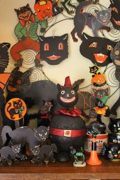 A collection of vintage Halloween decorations,