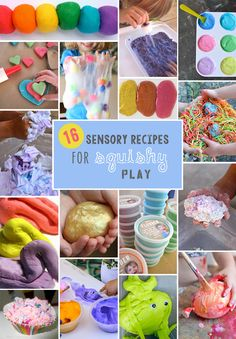 The best recipes for making flubber, slime, play dough and other messy and squishy sensory play ideas.
