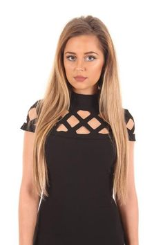 Black caged short sleeved dress