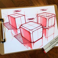 Sometimes taking it back to basics is the quickest way to learn the most. . On this cube study, I've explored three different edge treatments, while practicing perspective, shading, and linework. #cube #study #edge #copic #marker #perspective #shading #shadows #linework #practice #sketch #sketching #sketchbook #sketchaday #bettereveryday #ideation #concept #productdesign #industrialdesign