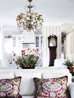 Beautiful, White living room with style