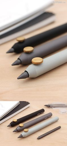 Parafernalia Neri Pencil Lead Holders hold the lead in place with a minimalist brass screw. Their metal barrels have a velvety finish.