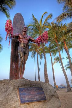 Duke Paoa Kahinu Mokoe Hulikohola Kahanamoku (August 24, 1890 – January 22, 1968) was a Hawaiian swimmer, actor, lawman, early beach volleyball player and businessman credited with spreading the sport of surfing. He was a five-time Olympic medalist in swimming. Find the statue in his honour on Waikiki Beach.