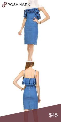 Ruffle Denim Dress Ruffle top denim dress with spaghetti straps Dresses Midi