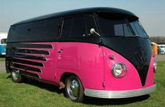vw bus hot pink and black