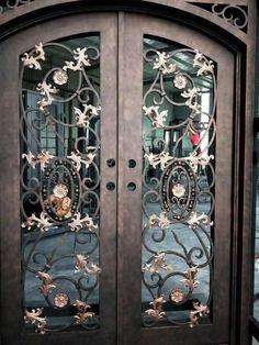 Iron Front Door, Front Doors, Double Doors Exterior, Welcome Signs Front Door, Iron Gate Design, Wrought Iron Doors, Front Door Design, Steel Doors, Entry Doors
