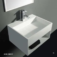 Solidcube 24 in. Wall Mounted Single Sink Bathroom Vanity with One Shelf, White Solid Surface