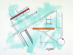 Original Abstract Geometric Painting on Canvas Linen by LenDickson