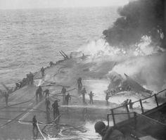 USS Saratoga struck by six kamikazes, February 21, 1945 - USS Saratoga (CV-3) was a Lexington-class aircraft carrier, and one of just three prewar U.S. fleet aircraft carriers, along with Enterprise, and Ranger, to serve throughout World War II.