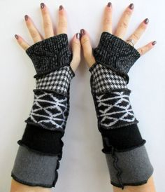 Recycled Sweater Fingerless Gloves Arm Warmers Black White & Fabulous Gloves Armwarmers Upcycled Clothing ThankfulRose Gloves by ThankfulRose on Etsy