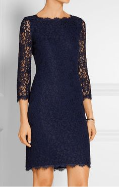Best Mother of the Groom Dresses #5 - DVF Navy Lace Long Sleeve Mother of the Groom Dress