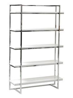 Ontario 5 Shelf Bookcase WHITE/CHROME  #Apt2BLabor