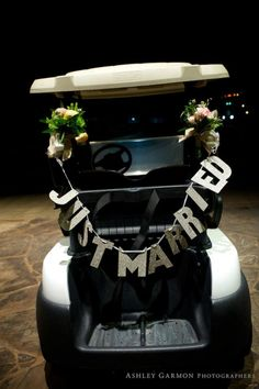 """just married"" sign on golf cart for couples exit / www.keelythorne.com / Ashley Garmon Photography"