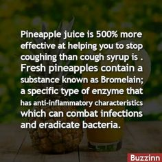 Pineapple juice is 500% more effective in helping you to stop coughing than cough syrup is. Fresh pineapples contain a substance known as bromelain, a specific type of enzyme that has anti-inflammatory characteristics which can combat infections and eradicate bacteria.