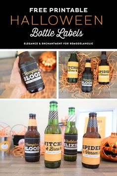 Free Printable Halloween Party Bottle Labels - four different designs for use on wine, beer, pop/soda bottles and more. An easy DIY way make your Halloween party a little more festive! Designs by Elegance and Enchantment for Remodelaholic Halloween Fonts, Holidays Halloween, Vintage Halloween, Halloween Crafts, Halloween Party, Halloween Ideas, Halloween Maze, Samhain Halloween, Halloween Costumes