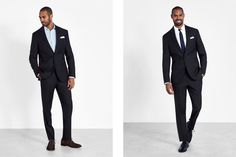 With more and more men choosing blue suits for wedding attire, the classic black tux has competition. Blue Suit Wedding, Wedding Men, Wedding Suits, Wedding Attire, Celebrity Wedding Photos, Celebrity Weddings, Groom Tuxedo, Black Tux, Groom Outfit