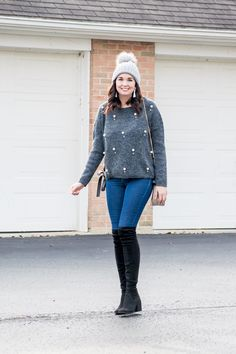 Pearl Embellished Sweater and Grey Pom Pom Beanie Winter Outfit | A Classic Ambition