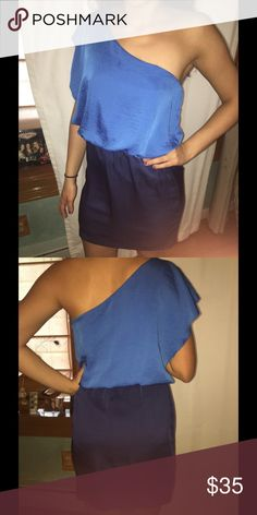 Two tone blue one shoulder silk like dress Medium Cute dress for cocktails or a wedding. Worn once ! EUC Dresses