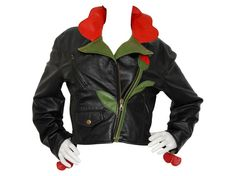 Iconic MOSCHINO A/W 1989/90 Flower Biker Leather Jacket 1980s 1990s Size Small