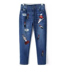 SheIn(sheinside) Blue Ripped Lipstick Hand Embroidered Denim Pant (455 ZAR) ❤ liked on Polyvore featuring jeans, pants, bottoms, sheinside, blue, denim jeans, torn jeans, destroyed jeans, ripped blue jeans and loose jeans