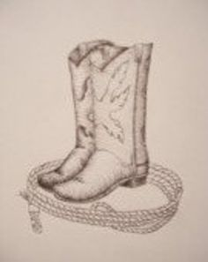Pen and Ink Drawing of a pair of Cowboy Boots surounded by a rope. What every cowboy needs. The boots and rope are done in Pen and ink, giving you great detail. The print is limited come in a inch X 11 inch size and is signed and numbered by the artist. Rope Drawing, Flag Drawing, Drawing Sketches, Painting & Drawing, Drawing Ideas, Sketching, Cowboy Boot Tattoo, Cowboy Tattoos, Western Art
