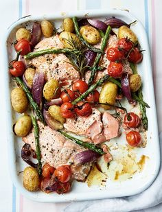 Prep Time: 5 Minutes | Cooking Time: 30 MinutesServes 4A tray bake ticks most midweek supper boxes: simple, easy, flavourful and with minimal washing up. Each ingredient seeps into the next in this no-fuss dish that