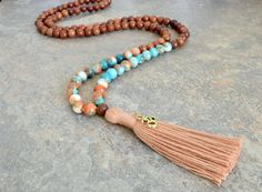 Rosewood and Jade Meditation Bead Necklace Tassel Necklace
