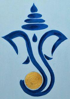 Ganpati Drawing, Ganesha Drawing, Lord Ganesha Paintings, Lord Shiva Painting, Ganesha Art, Indian Art Paintings, Hindu Art, Diy Canvas Art, Mural Painting