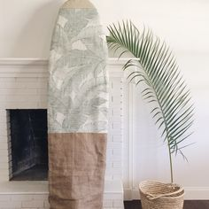 The totally custom boardbag - always available, but hard to show because the fabrics, size and shape are all up to you. Get in touch to design your own. Shown here : vintage palms in linen with sage leather nose and burlap bottom.