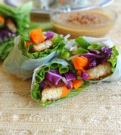 Tempeh Spring Rolls with Spicy Peanut Sauce