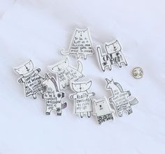 Folkgarden's black and white quote pins.