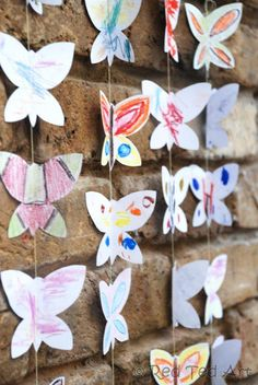 """Here is a low """"mess"""", but fun activity that can involve the whole family and kids of all ages - butterfly mobiles (including a template for you to print off) - make a string of them or a mobile or stick then onto a large canvas. Great """"together"""" project for the holidays!"""