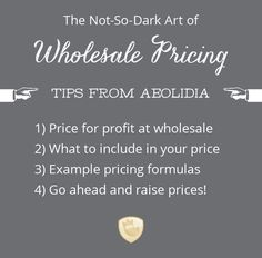 4 different wholesale pricing tips and formulas for creative, handmade businesses. Use these even if you don't plan to sell wholesale!