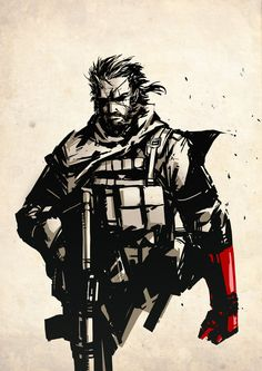 "Punished Snake // artwork by Hary Istiyoso Big Boss as he will appear in the soon to be released ""Metal Gear Solid V: The Phantom Pain"" Snake Metal Gear, Metal Gear Solid Series, Gear Art, Video Game Art, Animal Design, Comic Art, Gears, Concept Art, Character Design"