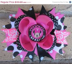 SALE Minnie Mouse inspired Pink Black Polka by AddisonsBowtique
