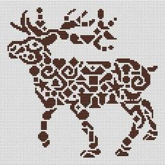 White Willow Stitching Tribal Reindeer - Cross Stitch Pattern. Based on the artwork of Jamie Larson. Stitched on fabric and floss of your choice. Requires 15 me