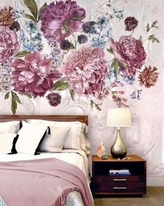 How gorgeous is this purple bloom wallpaper mural?