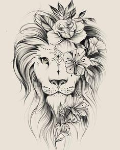 Image could contain: drawing – flower tattoos – best tattoo – flower tattoos designs - tatoo feminina Kunst Tattoos, Leo Tattoos, Bild Tattoos, Future Tattoos, Body Art Tattoos, Tatoos, Portrait Tattoos, Leo Zodiac Tattoos, Horse Tattoos