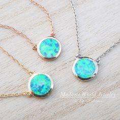 Reconstitute Blue Opal Bezel Set Circle by MadameWorldJewelry
