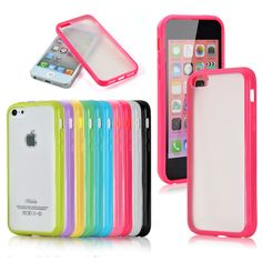 TPU Bumper Frame with Matte Clear Hard Back Skin Case Cover for iPhone 5C