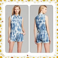 MICHAEL KORS TIE DYE DENIM ROMPER NWT$135 Cotton Machine wash or Dry clean Imported Spread collar, sleeveless, button front closure, darted bust Two button flap chest pockets, tie-dye, belt loops Two slit side pockets, two slit back pockets. Michael Kors Other
