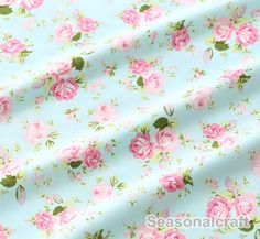♥ This fabric is a special Aqua Blue Fabric Pink Flower Fabric,Shabby Chic Flower Fabric,Pink Floral Cotton Fabric   * Cotton fabric: peony