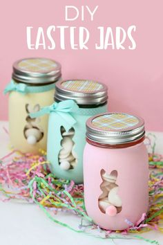 How cute are these pastel easter bunny mason jars?! This craft idea is perfect for the easter holidays, and they would make a great spring home decoration. You could fill them with eggs and give away as homemade easter gifts.