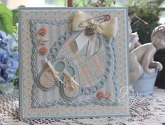 copy Darling baby card by Jerri Kay with Marianne dies and Graphic 45 DP Baby Boy Cards, New Baby Cards, Baby Shower Cards, Baby Boys, Little Boy Blue, Baby Scrapbook, Scrapbook Albums, Marianne Design, Handmade Birthday Cards